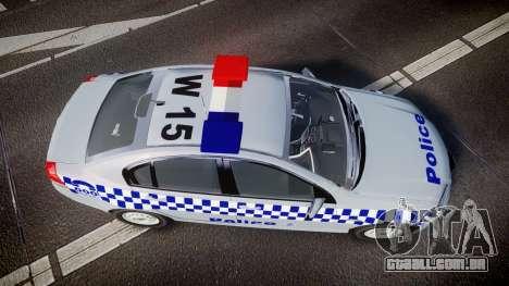 Holden Commodore Omega Victoria Police [ELS] para GTA 4 vista direita