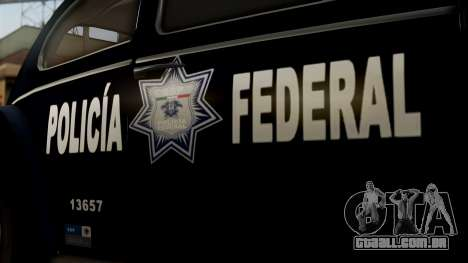 Volkswagen Beetle 1963 Policia Federal para GTA San Andreas vista direita