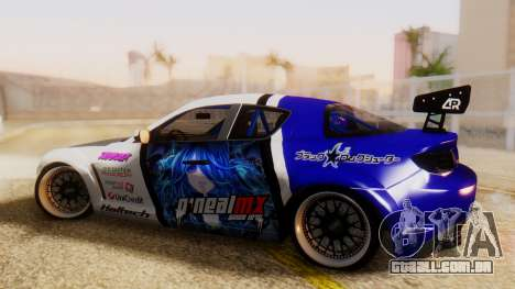 Mazda RX-8 Tuned Black Rock Shooter Itasha para GTA San Andreas esquerda vista