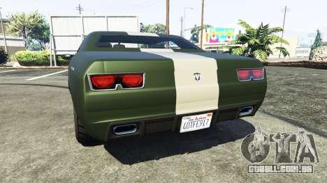GTA 5 Bravado Gauntlet Dodge Challenger traseira vista lateral esquerda