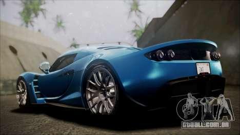 Hennessey Venom GT 2012 U.S.A American para GTA San Andreas traseira esquerda vista