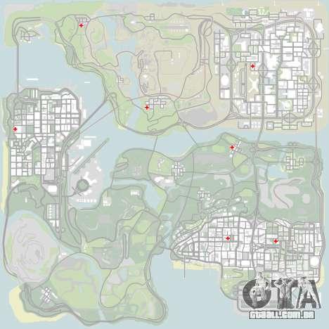PS captadores perto de hospitais no estado para GTA San Andreas oitavo tela