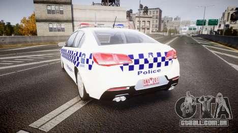 Holden VF Commodore SS NSW Police [ELS] para GTA 4 traseira esquerda vista