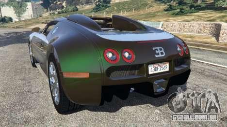 GTA 5 Bugatti Veyron Grand Sport v3.0 traseira vista lateral esquerda