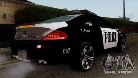 BMW M6 E63 Police Edition para GTA San Andreas esquerda vista
