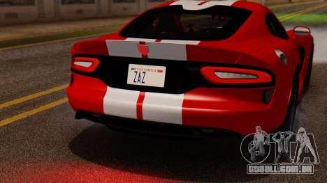 Dodge Viper SRT GTS 2013 IVF (MQ PJ) LQ Dirt para GTA San Andreas vista interior