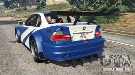 GTA 5 BMW M3 GTR E46 Most Wanted v1.2 traseira vista lateral esquerda