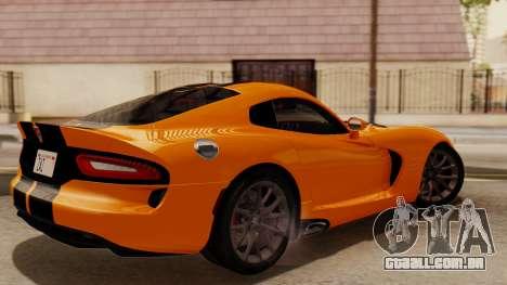 Dodge Viper SRT GTS 2013 IVF (HQ PJ) No Dirt para GTA San Andreas traseira esquerda vista
