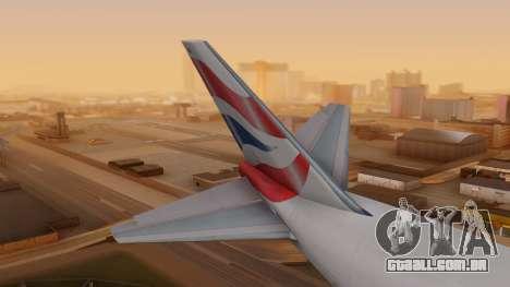 Boeing 747-200 British Airways para GTA San Andreas traseira esquerda vista