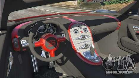 GTA 5 Bugatti Veyron Grand Sport v3.3 traseira direita vista lateral