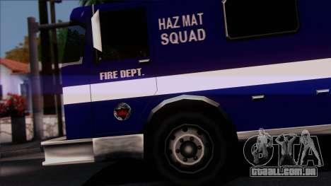 FDSA Hazardous Materials Squad Truck para GTA San Andreas traseira esquerda vista