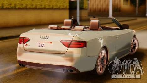 Audi S5 2010 Cabriolet para GTA San Andreas esquerda vista