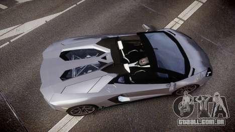 Lamborghini Aventador Roadster para GTA 4 vista direita