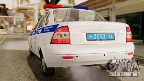 Lada 2170 Priora polícia de trânsito de Nizhniy  para GTA San Andreas traseira esquerda vista