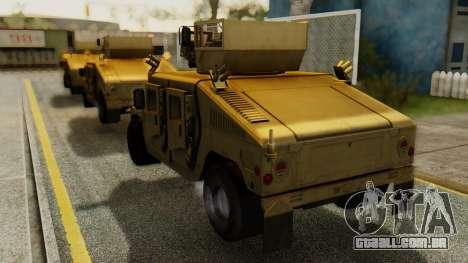 PR BF2 US Army UpArmored Humvee Armed with MK19 para GTA San Andreas esquerda vista