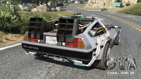 GTA 5 DeLorean DMC-12 Back To The Future v0.2 traseira vista lateral esquerda