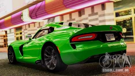 Dodge Viper SRT GTS 2013 IVF (MQ PJ) No Dirt para GTA San Andreas traseira esquerda vista