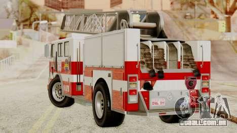 SAFD Fire Lader Truck para GTA San Andreas esquerda vista
