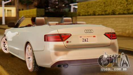 Audi S5 2010 Cabriolet para GTA San Andreas traseira esquerda vista