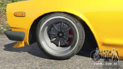 GTA 5 Nissan Skyline 2000 GT-R 1970 v0.3 [Beta] traseira direita vista lateral