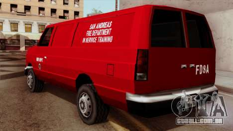 SAFD In Service Training Van para GTA San Andreas esquerda vista