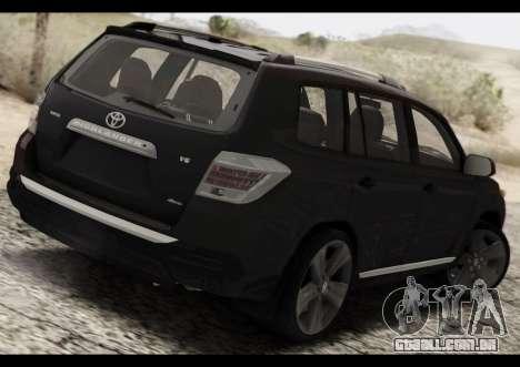 Toyota Highlander 2011 para GTA San Andreas traseira esquerda vista