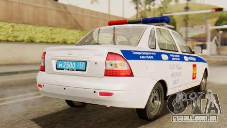 Lada 2170 Priora polícia de trânsito de Nizhniy  para GTA San Andreas esquerda vista