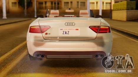 Audi S5 2010 Cabriolet para GTA San Andreas vista direita