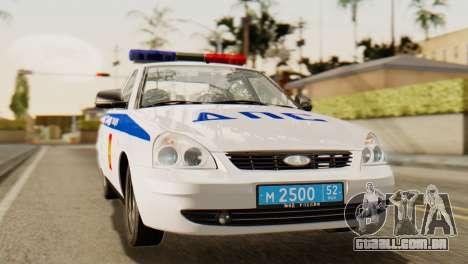 Lada 2170 Priora polícia de trânsito de Nizhniy  para GTA San Andreas