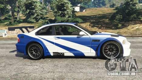 GTA 5 BMW M3 GTR E46 Most Wanted vista lateral esquerda
