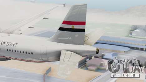 Airbus A320-200 Egyptian Air Force One para GTA San Andreas traseira esquerda vista
