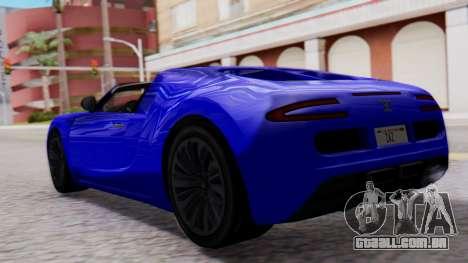 GTA 5 Truffade Adder Convertible para GTA San Andreas esquerda vista