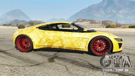 GTA 5 Dinka Jester (Racecar) Gold vista lateral esquerda