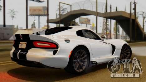 Dodge Viper SRT GTS 2013 IVF (HQ PJ) LQ Dirt para GTA San Andreas traseira esquerda vista