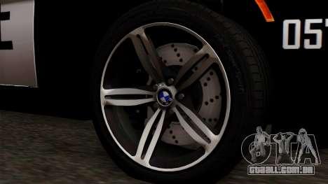 BMW M6 E63 Police Edition para GTA San Andreas traseira esquerda vista
