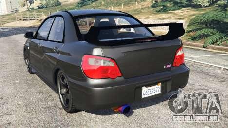 GTA 5 Subaru Impreza WRX STI 2005 traseira vista lateral esquerda