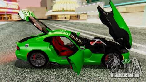 Dodge Viper SRT GTS 2013 IVF (MQ PJ) No Dirt para GTA San Andreas vista traseira