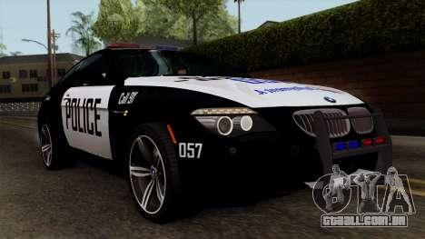 BMW M6 E63 Police Edition para GTA San Andreas