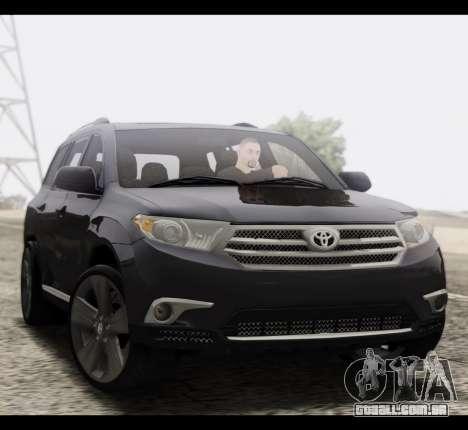 Toyota Highlander 2011 para GTA San Andreas vista traseira