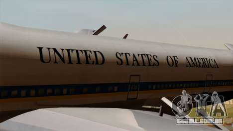 Boeing 747 Air Force One para GTA San Andreas vista traseira