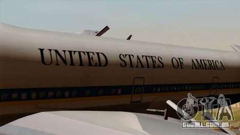 Boeing 747 Air Force One para GTA San Andreas vista traseira