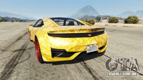 GTA 5 Dinka Jester (Racecar) Gold traseira vista lateral esquerda