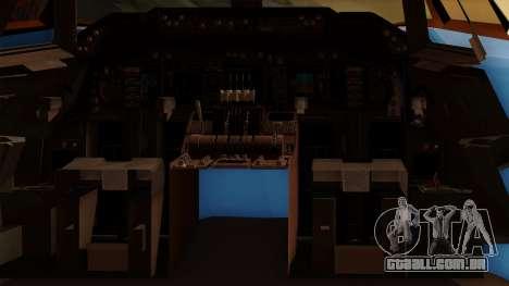 Boeing 747 Air Force One para GTA San Andreas vista interior