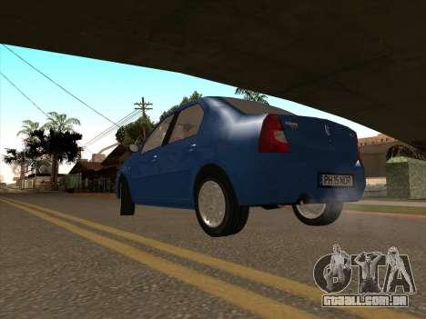 Dacia Logan Prestige para GTA San Andreas traseira esquerda vista
