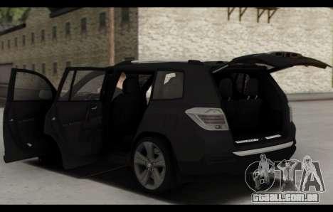 Toyota Highlander 2011 para GTA San Andreas vista inferior