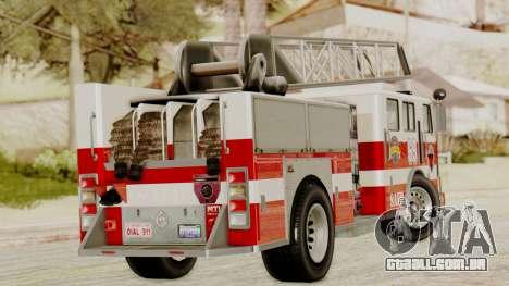 SAFD Fire Lader Truck para GTA San Andreas traseira esquerda vista