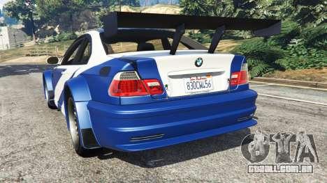 GTA 5 BMW M3 GTR E46 Most Wanted traseira vista lateral esquerda
