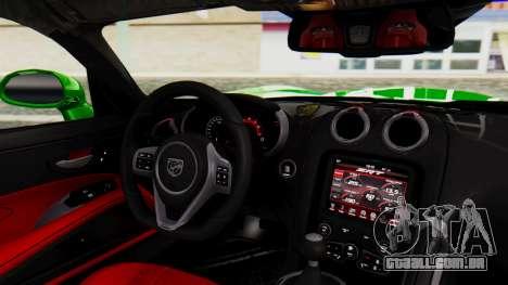 Dodge Viper SRT GTS 2013 IVF (MQ PJ) No Dirt para GTA San Andreas vista direita