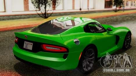 Dodge Viper SRT GTS 2013 IVF (MQ PJ) No Dirt para GTA San Andreas esquerda vista
