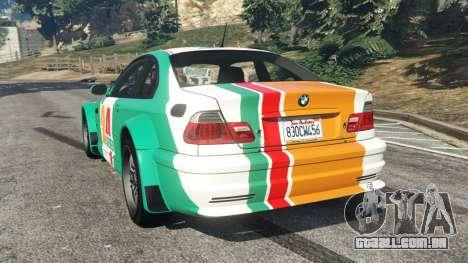 GTA 5 BMW M3 GTR E46 PJ3 traseira vista lateral esquerda